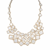 Kiley's Goldtone and White Statement Necklace