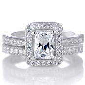 Kilma's Emerald Cut CZ Halo Wedding Ring Set