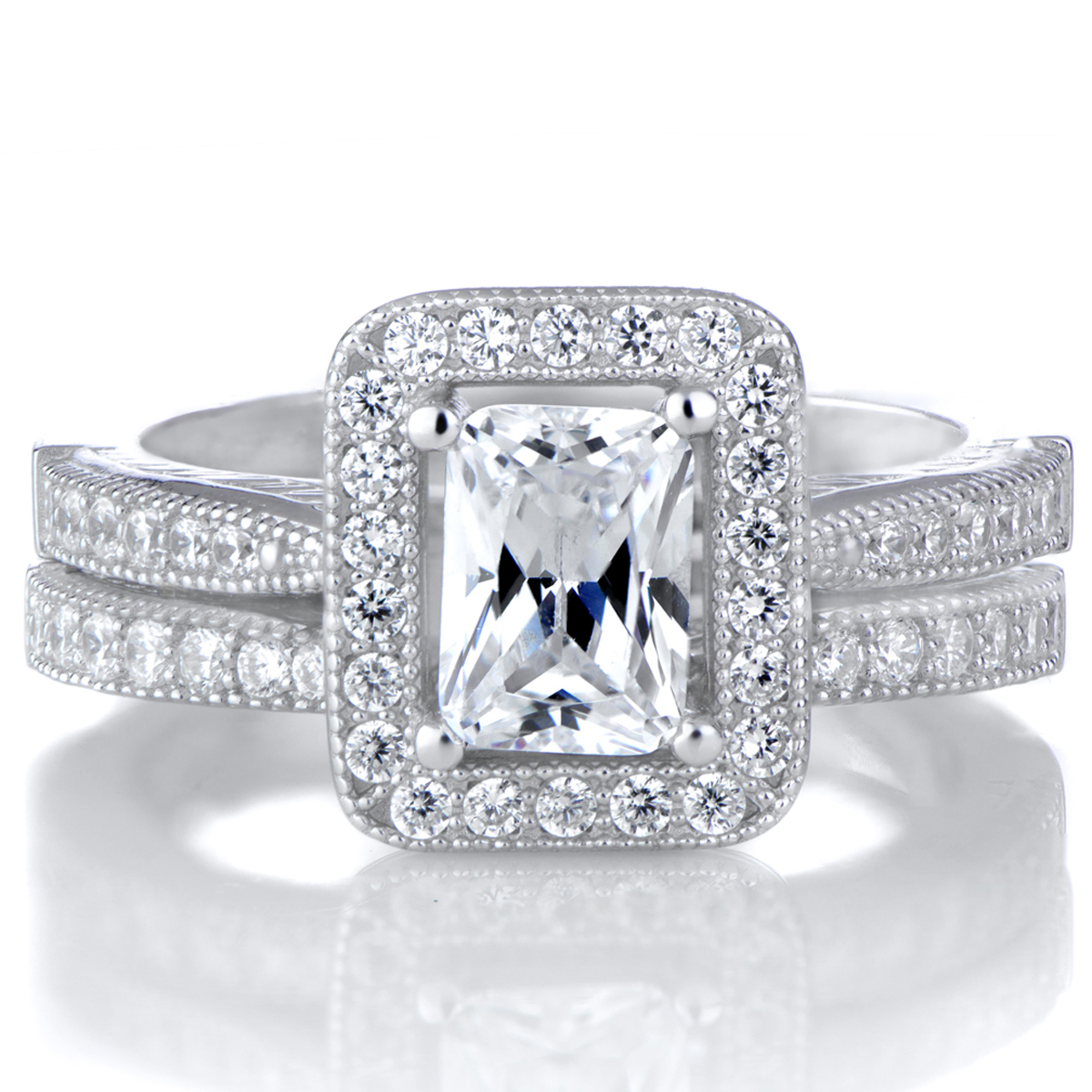 Kilma s Emerald Cut CZ Halo Wedding Ring Set