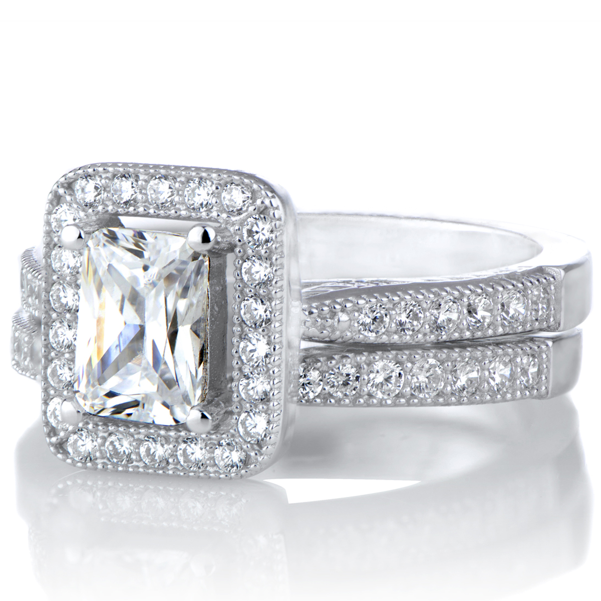 kilma 39 s emerald cut cz halo wedding ring set