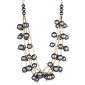Kimona's 20in Gold and Silver Simulated Pearl Layered Necklace