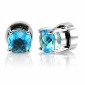 Kindle's Aquamarine CZ Non Pierced Magnetic Earrings - Silver Tone