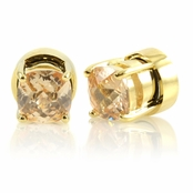 Kindle's Goldtone Champagne CZ Non Pierced Magnetic Earrings