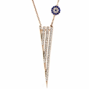 Kit's Rose Gold CZ Dagger Evil Eye Necklace