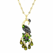 Kizzy's CZ Peacock Necklace - Gold Tone