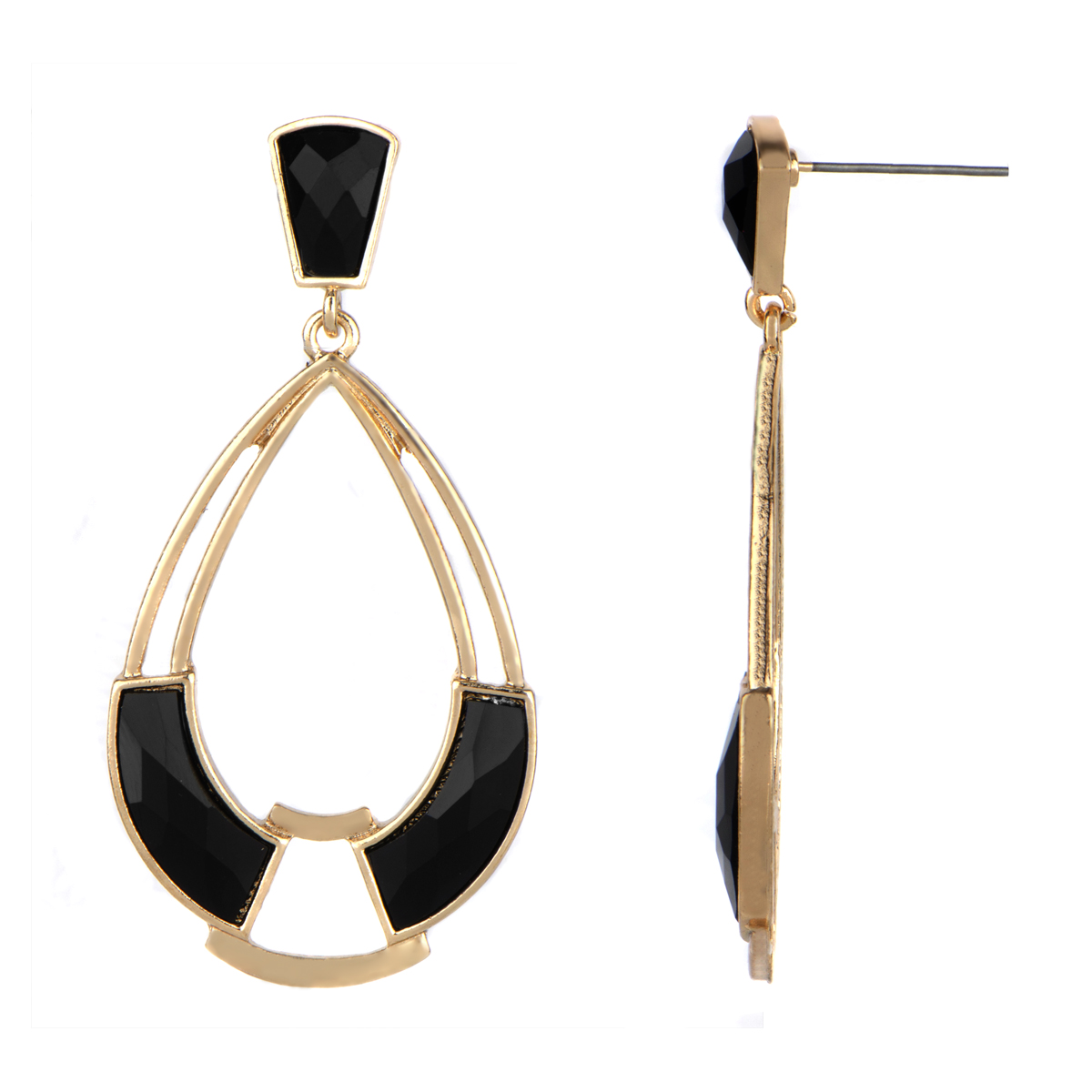 klara s gold and black mod tear drop earrings