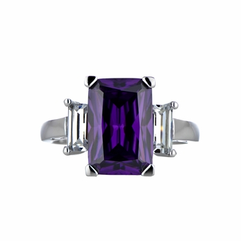 Kobe's Purple CZ Cocktail Ring