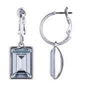 Kolina's Emerald Cut Swarovski Crystal Dangle Earrings - Aqua Blue