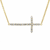 Kourtney's Petite Gold Vermeil Charm Necklace - Sideways Cross