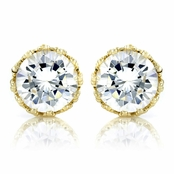 Kristine's 4 TCW Crown Setting CZ Stud Earrings