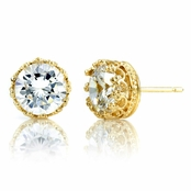 Kristine's 4 TCW Crown Setting CZ Stud Earrings - Gold Tone