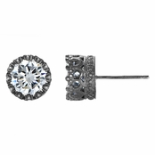 Kristine's Gun Metal 4 TCW Crown Setting CZ Stud Earrings