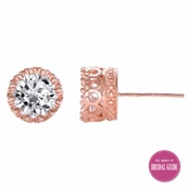 Kristine's 4 TCW Crown Setting CZ Stud Earrings - Rose Gold Tone