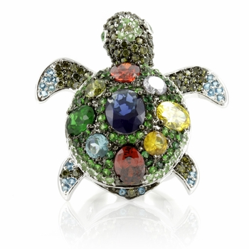 Kritty's Silvertone Turtle Cocktail Ring