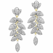 Kyle's Two Tone Leaf CZ Dangle Earrings