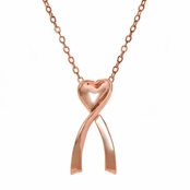 Kylie's Breast Cancer Awareness Pink Goldtone Ribbon and Heart Necklace
