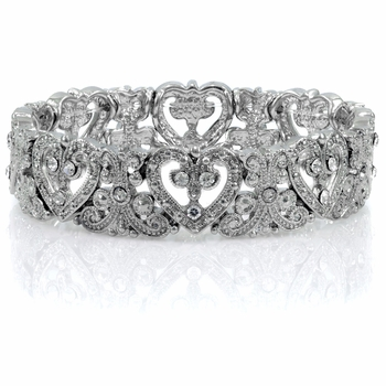 Lacey's Heart Stretch Bridal Vintage Bracelet