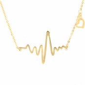 Lalia's Goldtone Heartbeat Charm Necklace