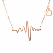 Lalia's Rose Gold Heartbeat Charm Necklace