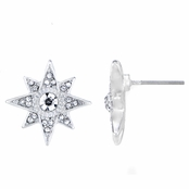 Leah's Silver Tone Starburst Stud Earrings