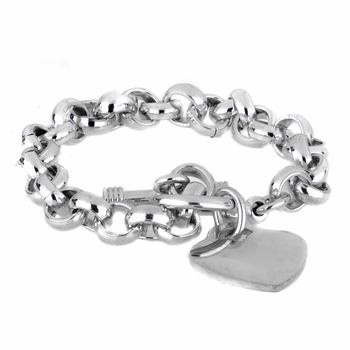 Heart Charm Toggle Bracelet - Medium Gauge