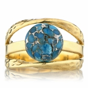 Leigh's Blue Copper Turquoise Three Band Gold Right Hand Ring