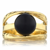 Leigh's Black Stone Three Band Goldtone Ring