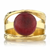 Leigh's Ruby Corundum Three Band Gold Right Hand Ring
