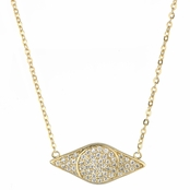 Lena's Goldtone Pave Cubic Zirconia Evil Eye Necklace