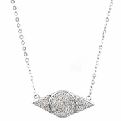 Lena's Silver Pave Cubic Zirconia Evil Eye Necklace