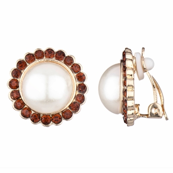 Leonie's Champagne CZ and Imitation Pearl Gold Button Clip On Earrings