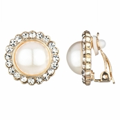 Leonie's Faux Pearl Gold Button Clip On Earrings