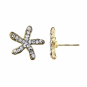 Leslee's Gold Tone Rhinestone Starfish Stud Earrings