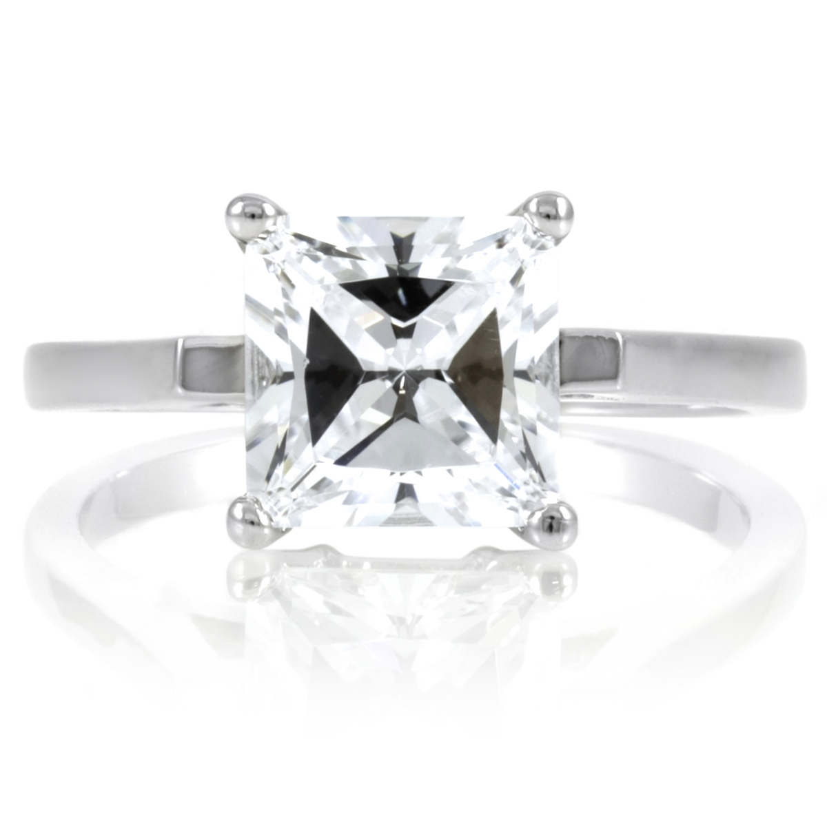 lezlie s 2 ct princess cut cz engagement ring