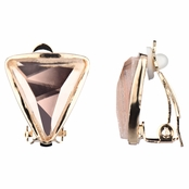Lia's Golden Triangle Clip On Earrings - Champagne