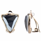 Lia's Golden Triangle Clip On Earrings - Smokey Grey