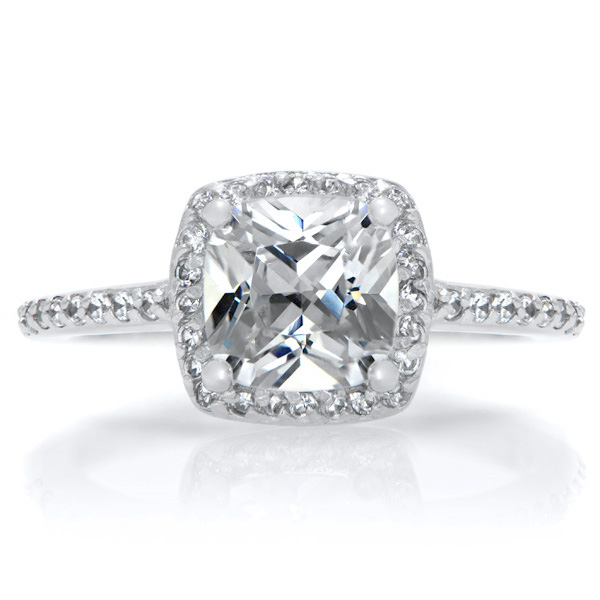 Halo Ring Cushion Cut Cz Halo Rings