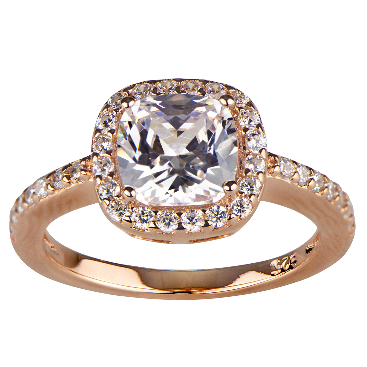 Liezel s CZ Halo Cushion Cut Rose Gold Engagement Ring