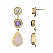 Lil's Drop Earrings - Purple CZ, Pink CZ