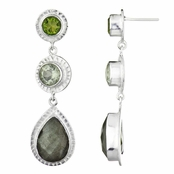 Lil's Genuine Drop Earrings - Peridot, Green Amethyst, Labrodite