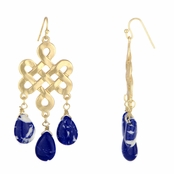 Lila's Knotted Blue Stone Bohemian Earrings