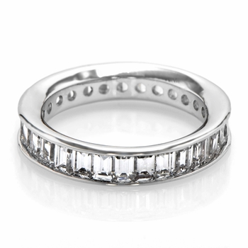 Lilith's Channel Set Simulated Emerald Step Cut CZ Eternity Ring Band