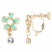 Lilly's Mint Imitation Pearl Flower Screwback Earrings