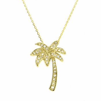 Lina's CZ California Palm Tree Necklace - Goldtone
