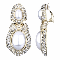 Lindita's Fancy Pearl Drop Clip On Earrings - Gold