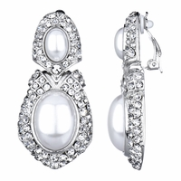 Lindita's Fancy Pearl Drop Clip On Earrings - Silver