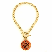 Lisa's Rhinestone Basketball Charm Toggle Bracelet