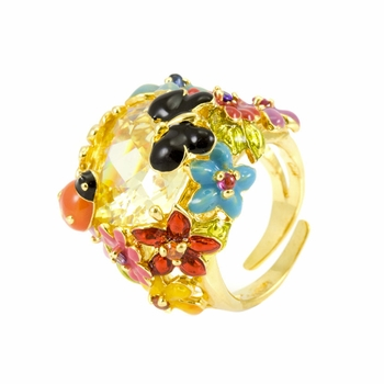Lissy's Flower Cocktail Ring - Yellow CZ
