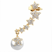 Lizzie's Rhinestone Star and Faux Pearl Ear Cuff for Left Ear