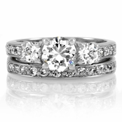 Loki's 3 Stone CZ Wedding Ring Set